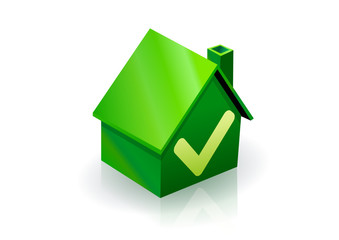 Maison verte et avis favorable (reflet)