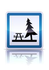 Panneau de signalisation aire de pique-nique (reflet métal)