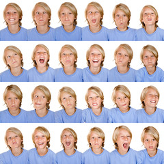 multi facial expressions of one person