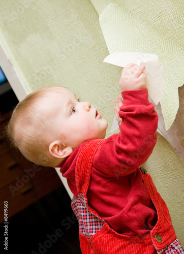 Little boy helps to tear wallpaper down