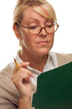 Smart Woman with Pencil and Folder poster