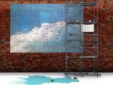 Fototapety mur liberté peinture bleu