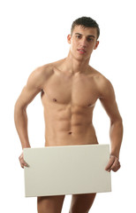 Muscular Man with Copy Space Blank Billboard