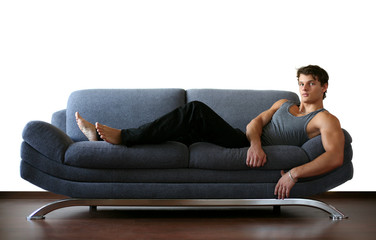 Sexy Young Man on the Sofa