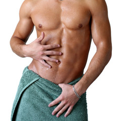 Wet Muscular Torso Wrapped in Towel
