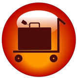 web button of flat pull trolley cart with luggage on it.. poster