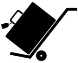 silhouette of hand trolly or cart with luggage on it.. poster