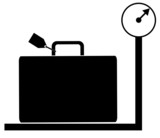 luggage with tag sitting on weigh scales - illustration poster