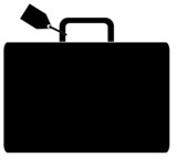 black silhouette of luggage marked with name tag poster