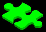 green three dimensional puzzle piece on black background poster