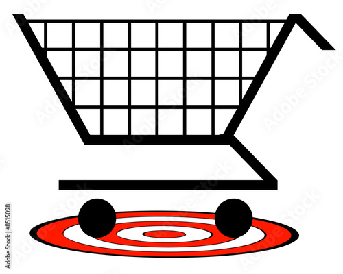 shopping cart with target underneath - retail target concept