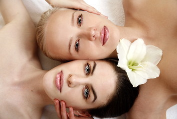 Beauty shot of two young faces side by side