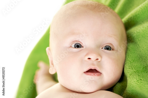 Up Close of cute baby face on white background