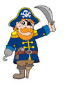 Pirate with sabre vector illustration