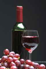 Bottle and glass of  wine,  grapes