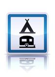 Panneau de signalisation camping caravaning (reflet métal) poster