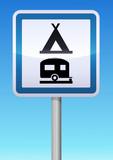 Panneau de signalisation camping caravaning poster