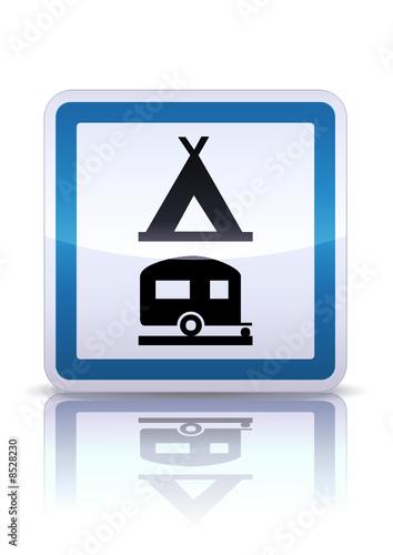 Panneau de signalisation camping caravaning (reflet métal)