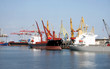 dry-cargo ships cost at moorings of port under unloading