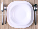 A white plate with cutlery poster