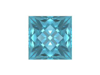Square shape blue topaz on white