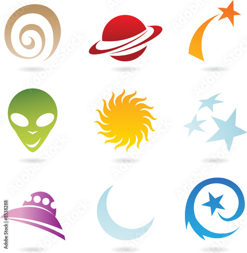 a set of fun space icons isolated on white