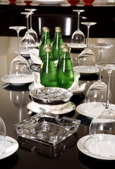 Conference table with water and glasses set up