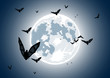 Vector illustration of realistic moon with bats