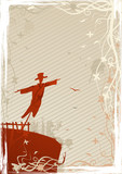 Illustration of mystic scarecrow on grunge background poster