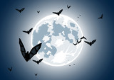 Vector illustration of realistic moon with bats poster