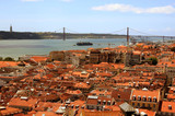 Bird view of central Lisbon and the 25th of April Bridge
