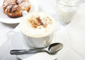 Coffee with cream from top