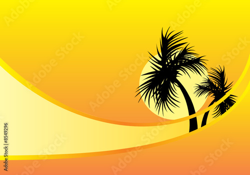 yellow background with palm trees