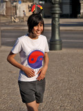 glückliche jugendliche auf der strasse, deutscher fan poster