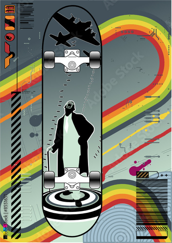 Funky layout featuring a skateboard design.