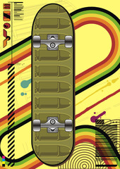 Funky layout featuring a skateboard design with bullets.