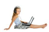 Teen girl on laptop with earphones poster