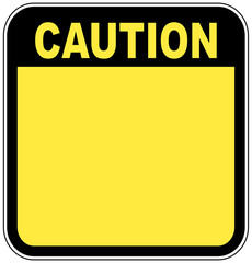 yellow caution sign left blank