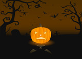 Vector illustration of a scary pumpkin on the grave poster
