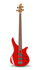 Vector illustration of red bass guitar