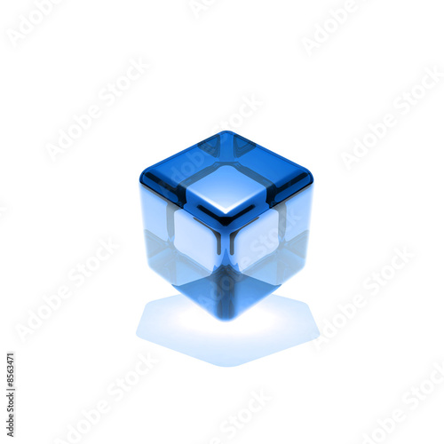 blue glass cube rotated