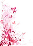 Pink color floral, vector illustration layered file.