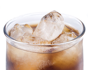 Cold fizzy cola with ice