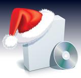 Santa Claus cap on a software box poster