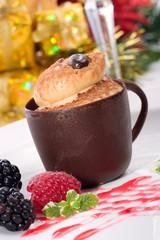 Tiramisu cake in chocolate cup
