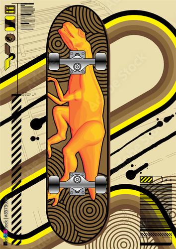 Skateboard design with Tyrannosaurus Rex.