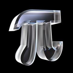 Pi greek symbol in glass (3D)