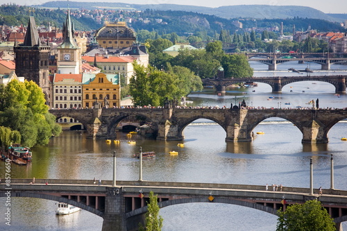 Poster Prague bridges on sunday afternoon