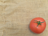 Single tomato at the brown linen poster