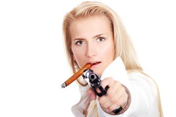 Cute blonde with gun and cigar
